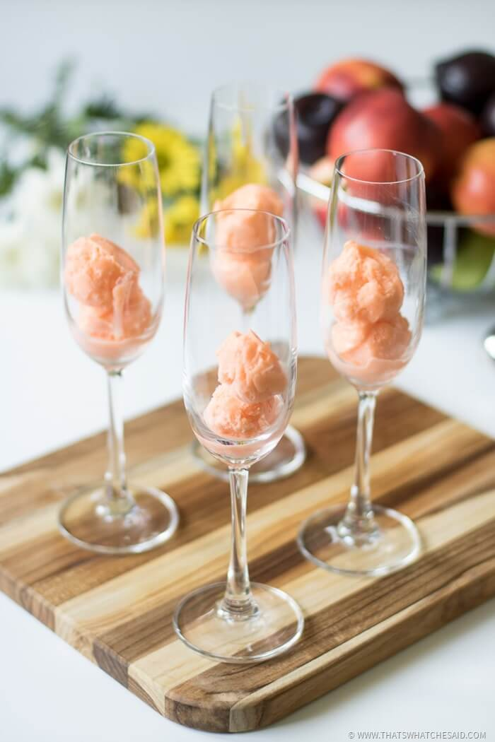 Add Sherbert to Champagne Glasses