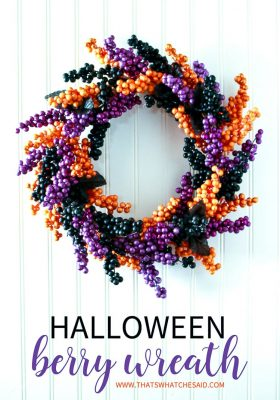 Finished Faux Berry Wreath in Halloween Colors