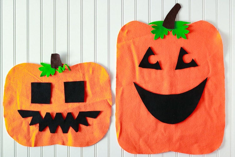 Pumpkin Shapes cut from felt with different mix/match face pieces for toddlers to create themselves.