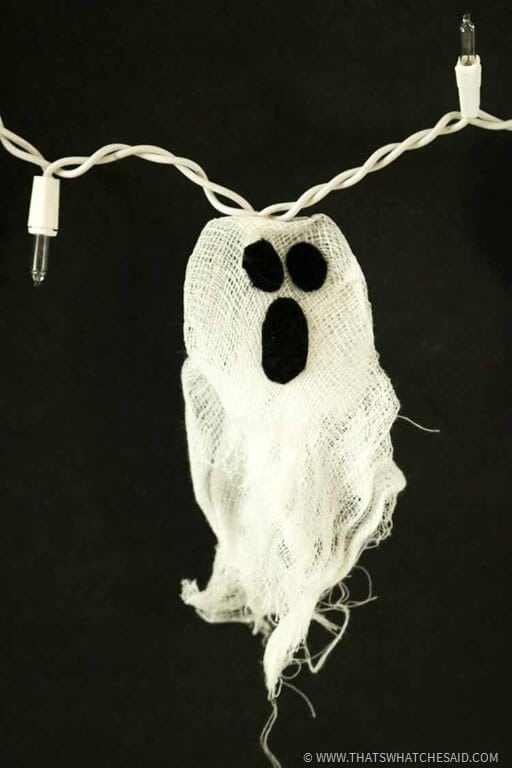 Halloween Garland Idea - Light up string of ghost lights