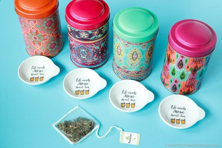 Tea Tins and Tea Bag Rests as Attendance Gifts