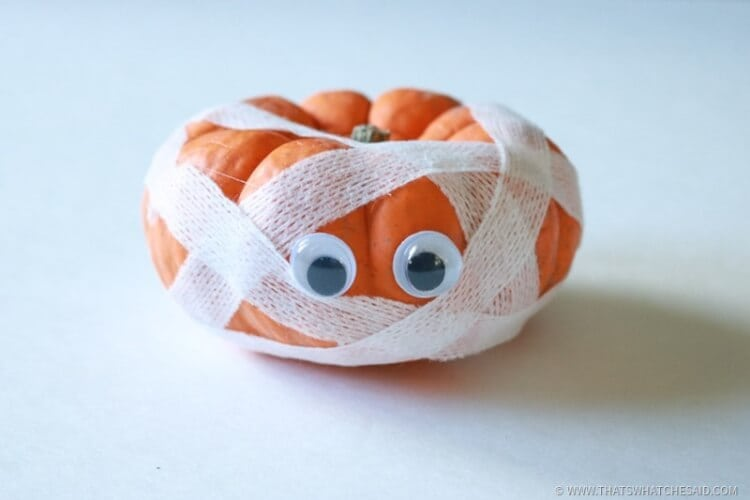 Wrap with Gauze Strips to Make pumpkin appear as a mummy