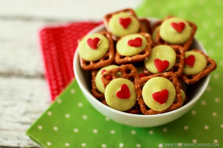Easy Holiday Treat - Grinch Pretzel Bites (2)