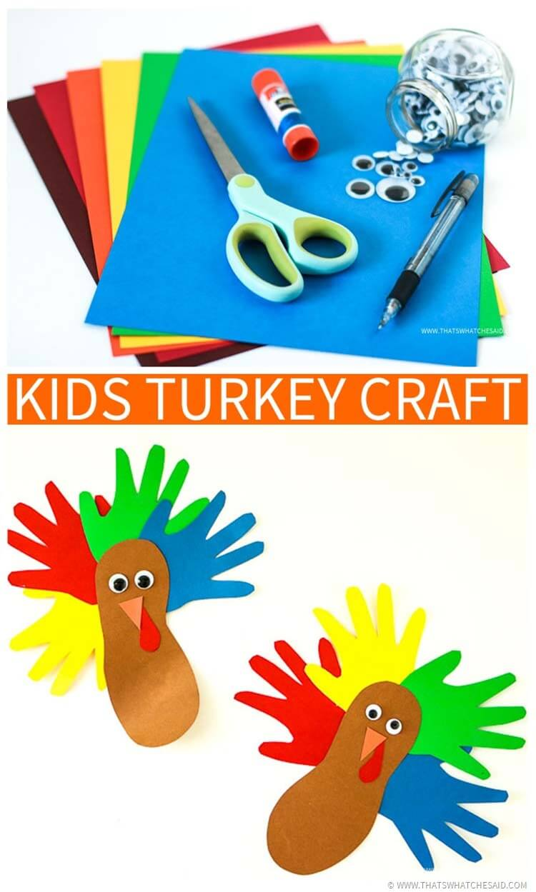 Easy and Simple Hand and Footprints Turkey Kids Craft!  Great yearly keepsake activity!