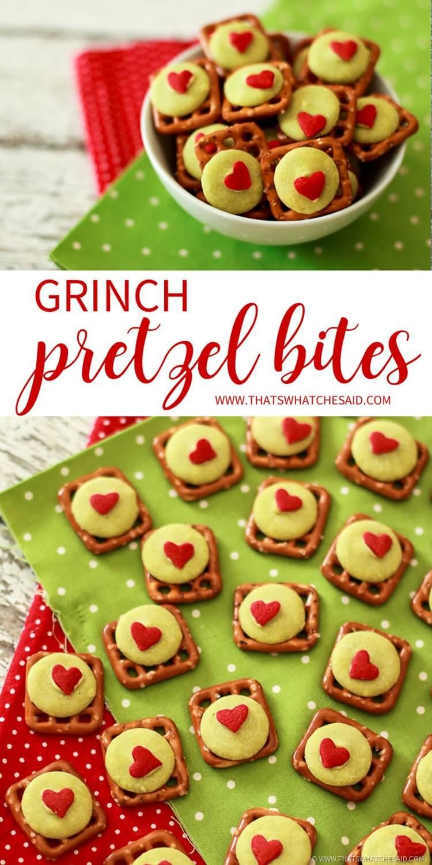 Grinch Pretzel Bites - Dr Seuss