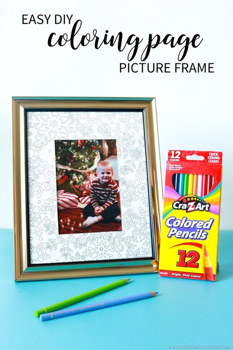 Coloring Page Photo Frame Handmade Gift Idea - Easy and Fun