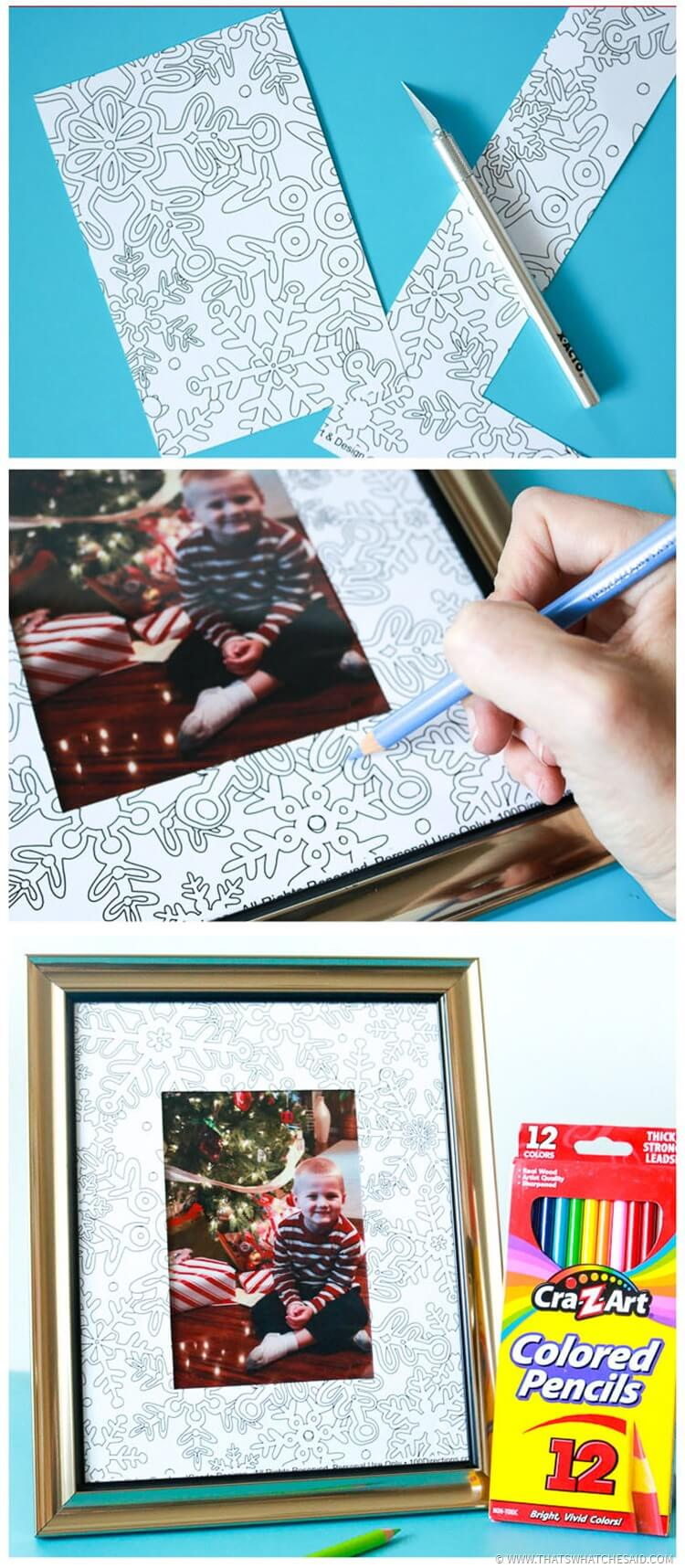 Easy DIY Coloring Page Photo Frame