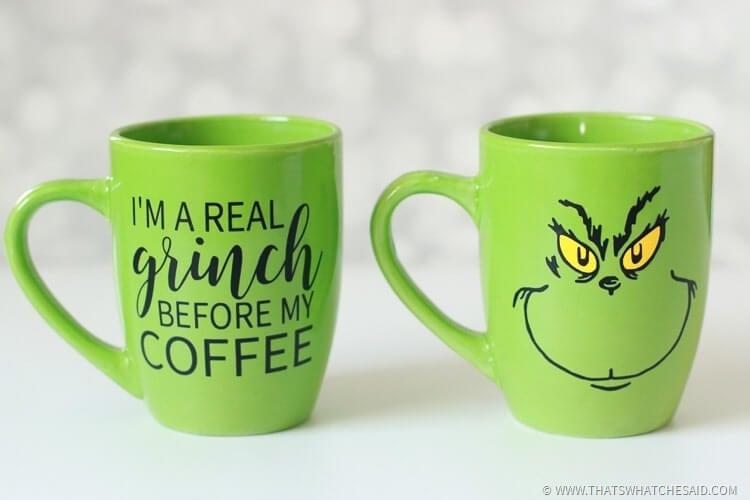 Coffee And Christmas Quotes: Grinch Coffee Mugs -3 Grinch Mug SVG Files