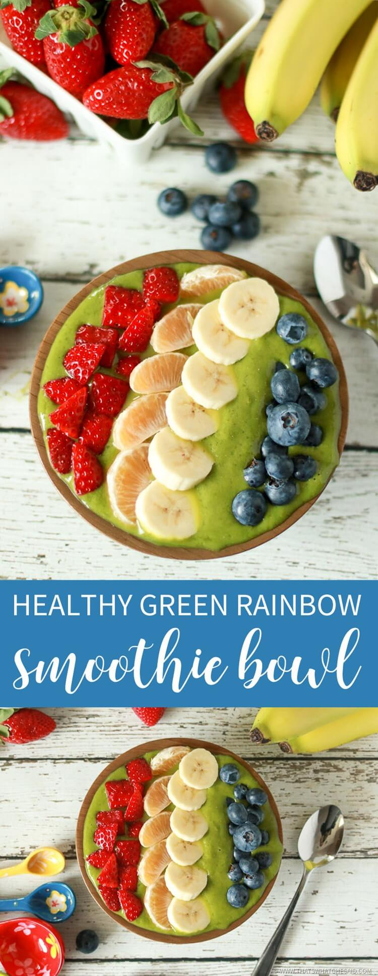 Healthy Rainbow Green Smoothie Bowl
