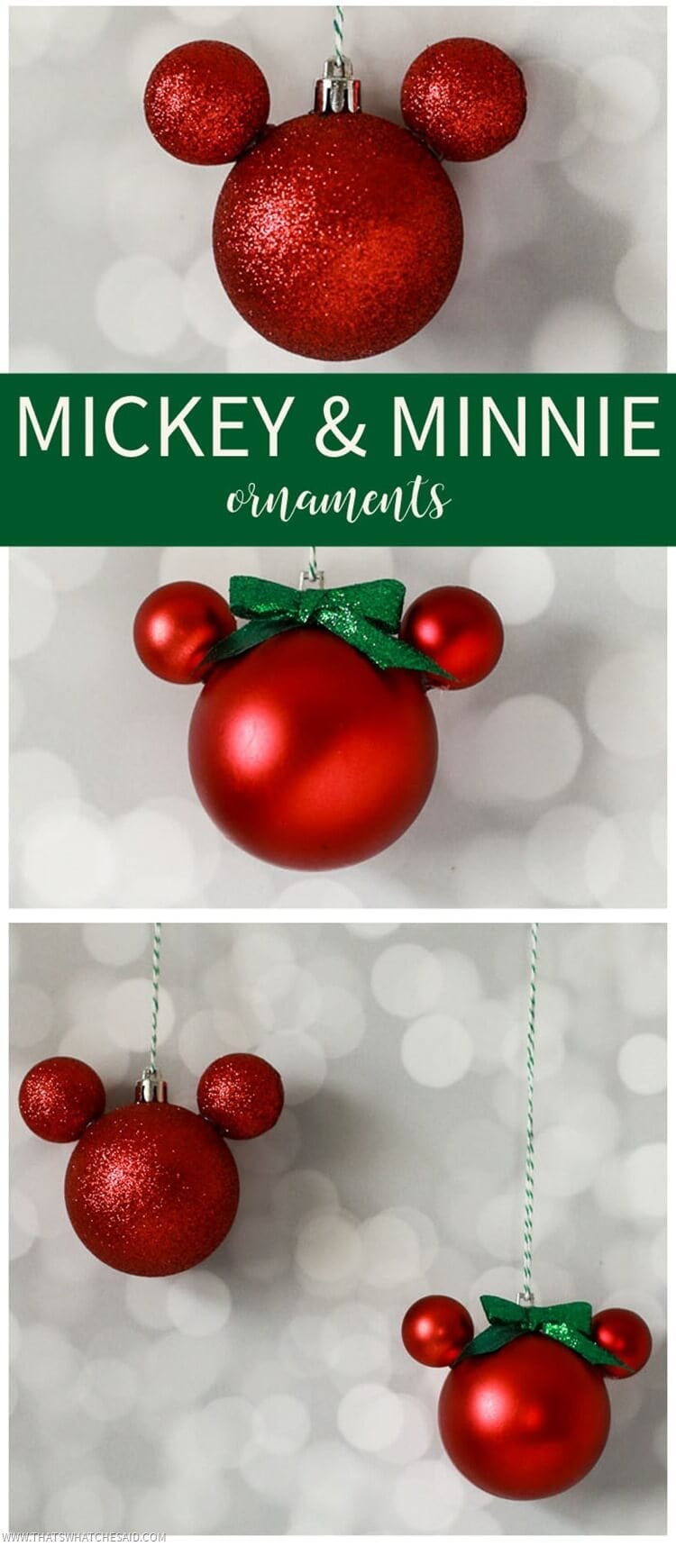 Make your own Mickey & Minnie Ornaments from plastic ball ornaments!