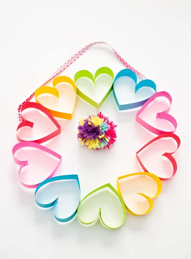 Paper strips made into hearts in a circle to form a wreath