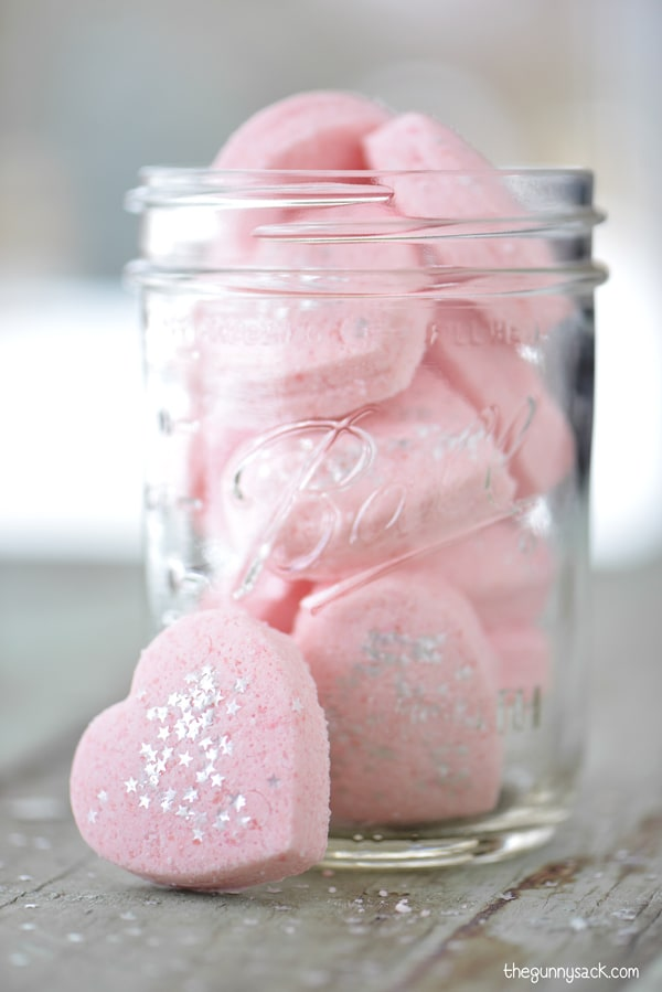 Mason Jar filled with pink heart bath bombs