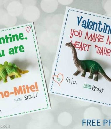 Dinosaur Valentine Free Printable - Non-Candy Class Valentine Idea