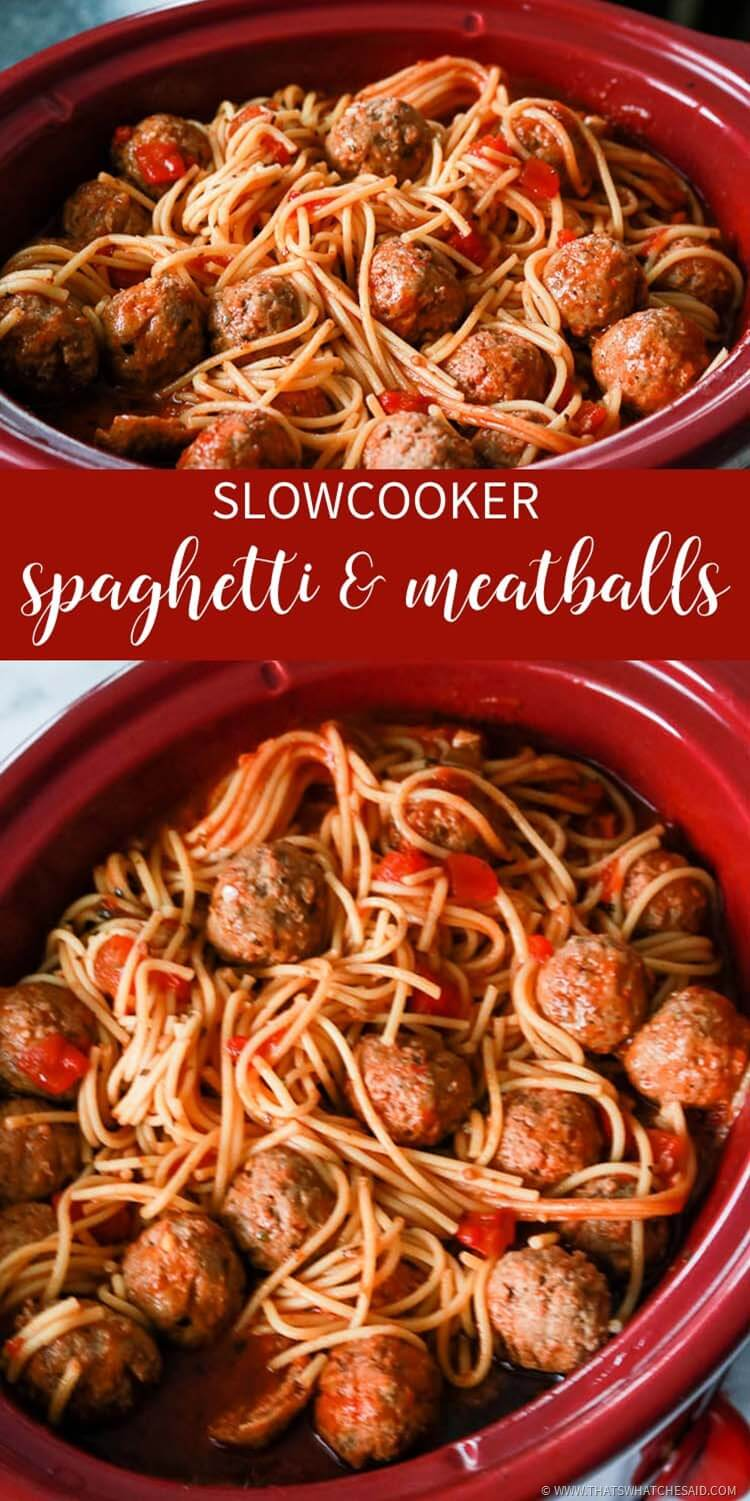 Easy Spaghetti & Meatballs in a Slow Cooker