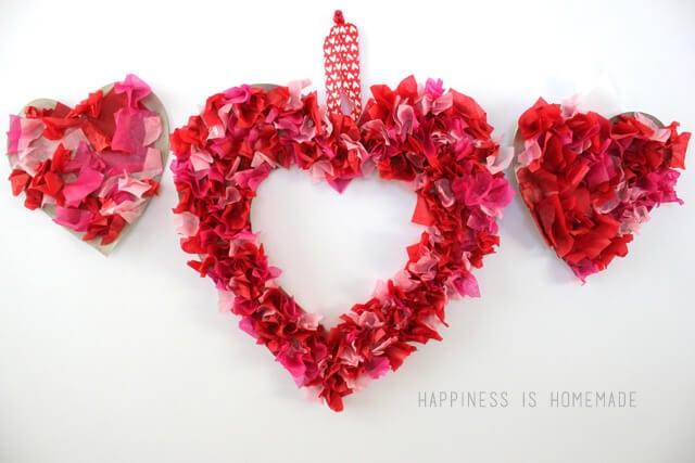 Tissue Paper Heart Wreaths
