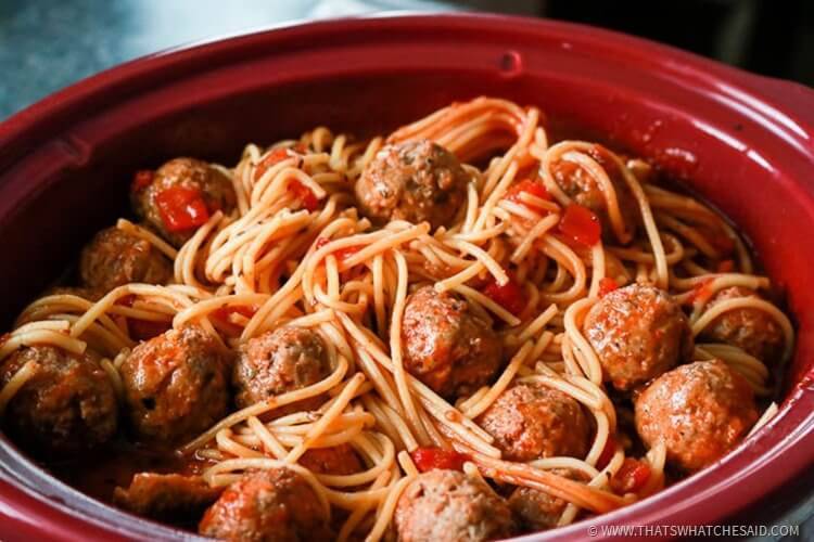 Slowcooker Spaghetti & Meatballs