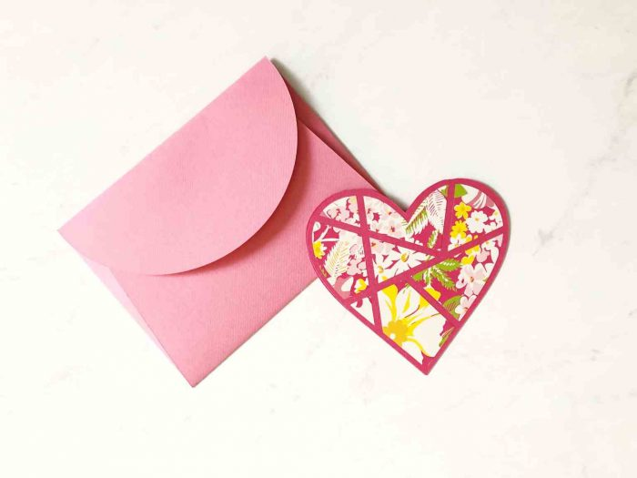 Pink paper envelope with Heart card
