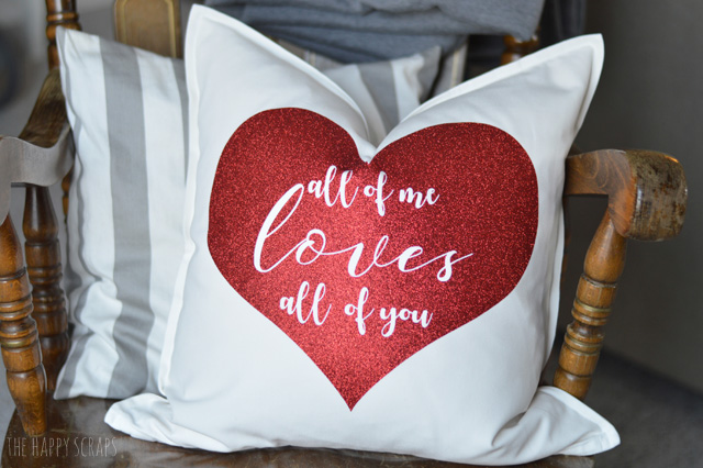 White Pillow with Heart design in iron on