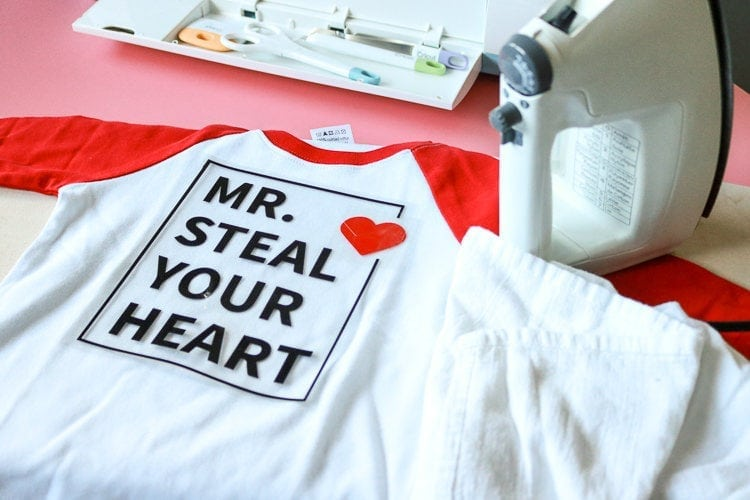 Boys Valentine Shirt applies easily with Iron and spare cloth
