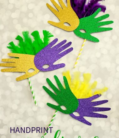 Easy Handprint Mardi Gras Mask