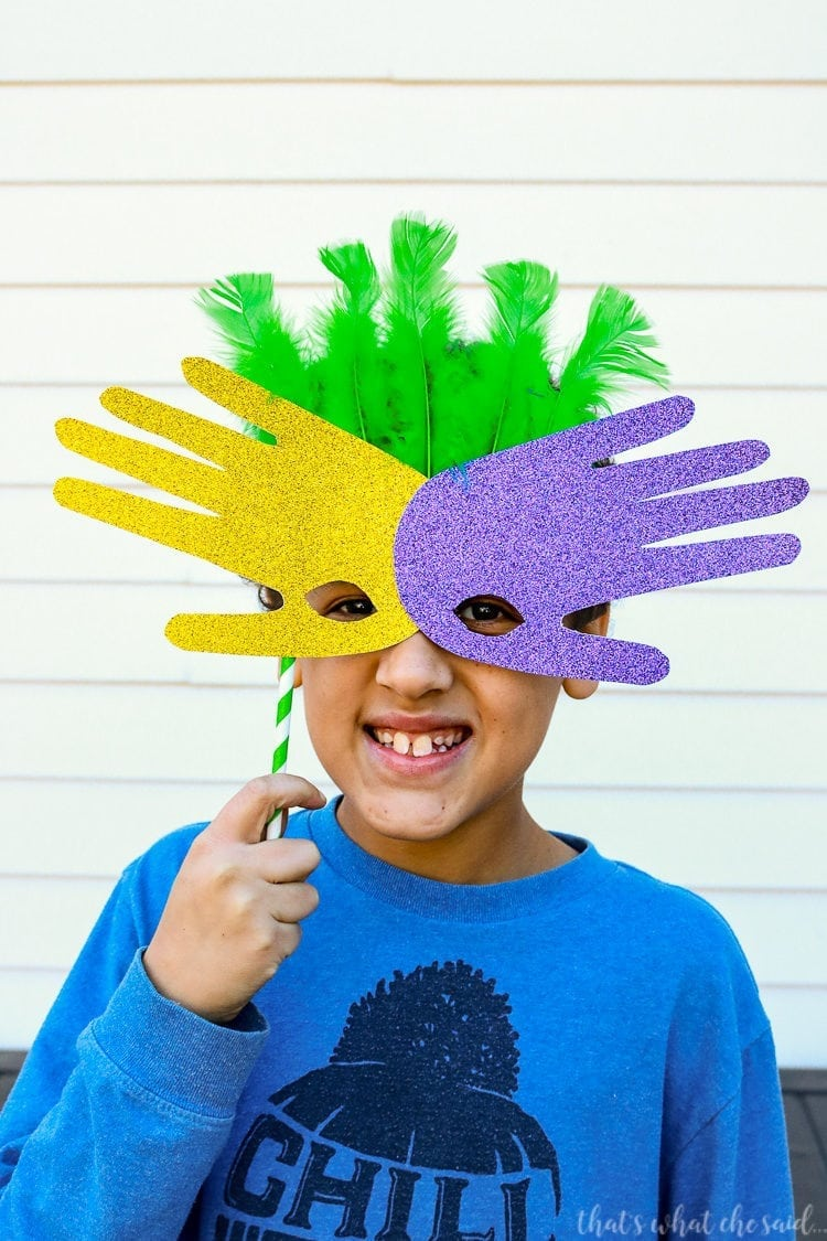 Family Friendly Mardi Gras Handprint Masks