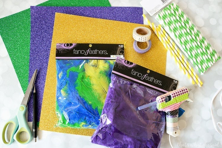Handprint Mardi Gras Mask Supplies