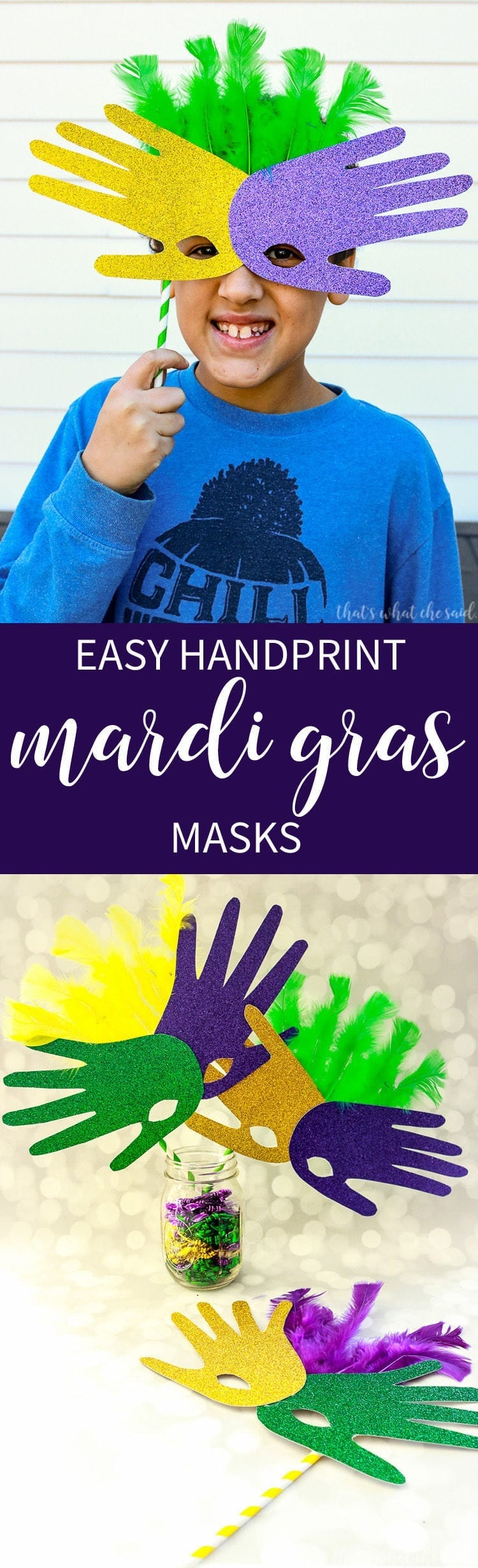 Handprint Mask - Mardi Gras Craft Project
