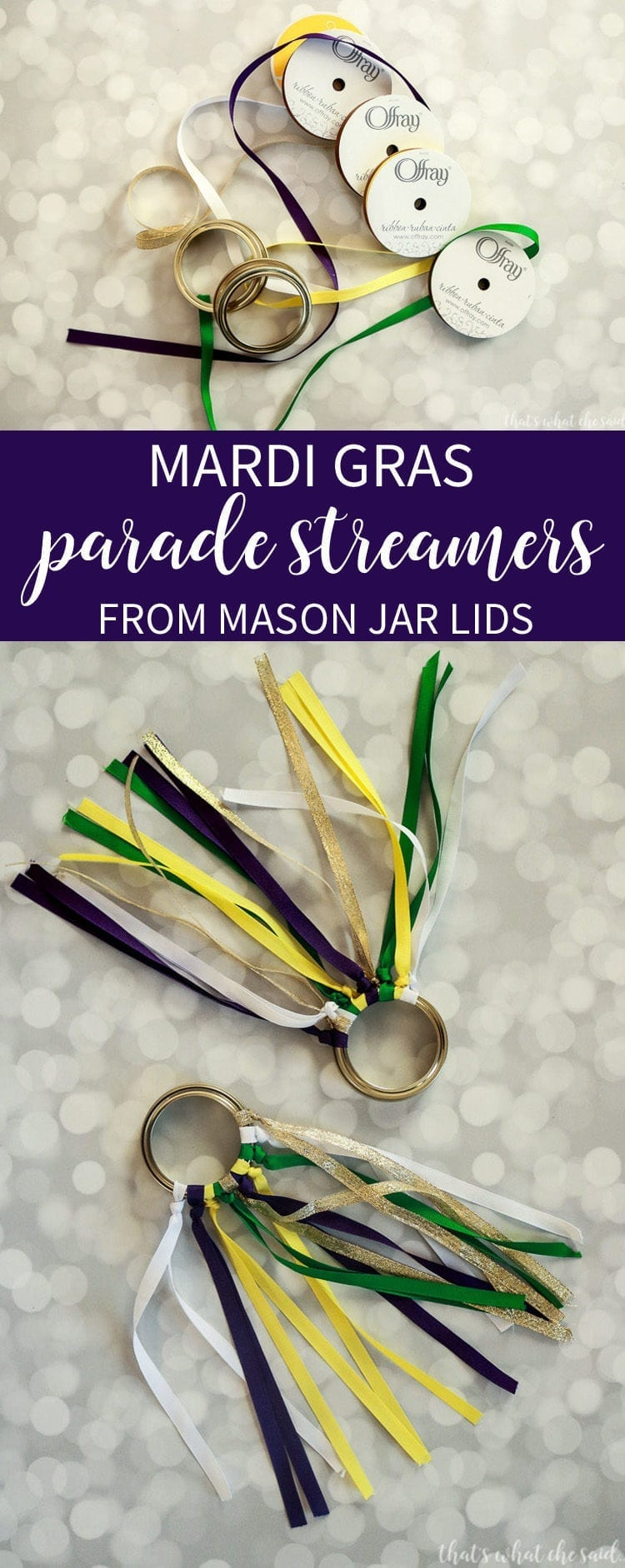 Mardi Gras Parade Streamers made with Mason Jar Lids and Ribbon. Easy Mardi Gras Craft Idea