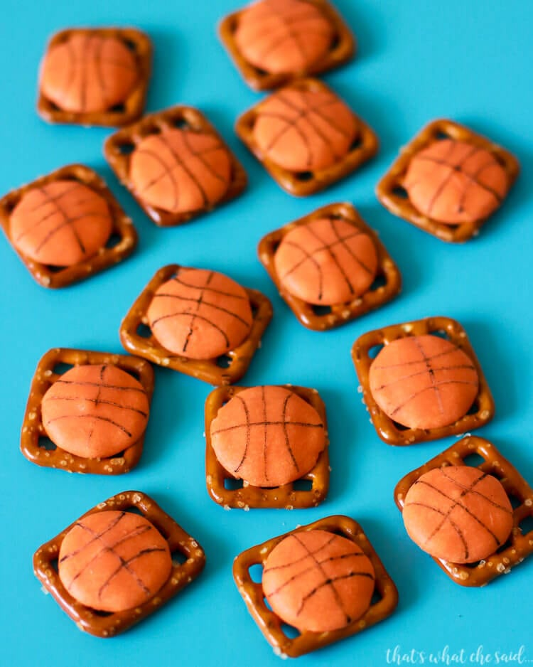 Basketball Pretzel Bites are an easy basketball treats idea that are perfect for a pee wee team or March Madness