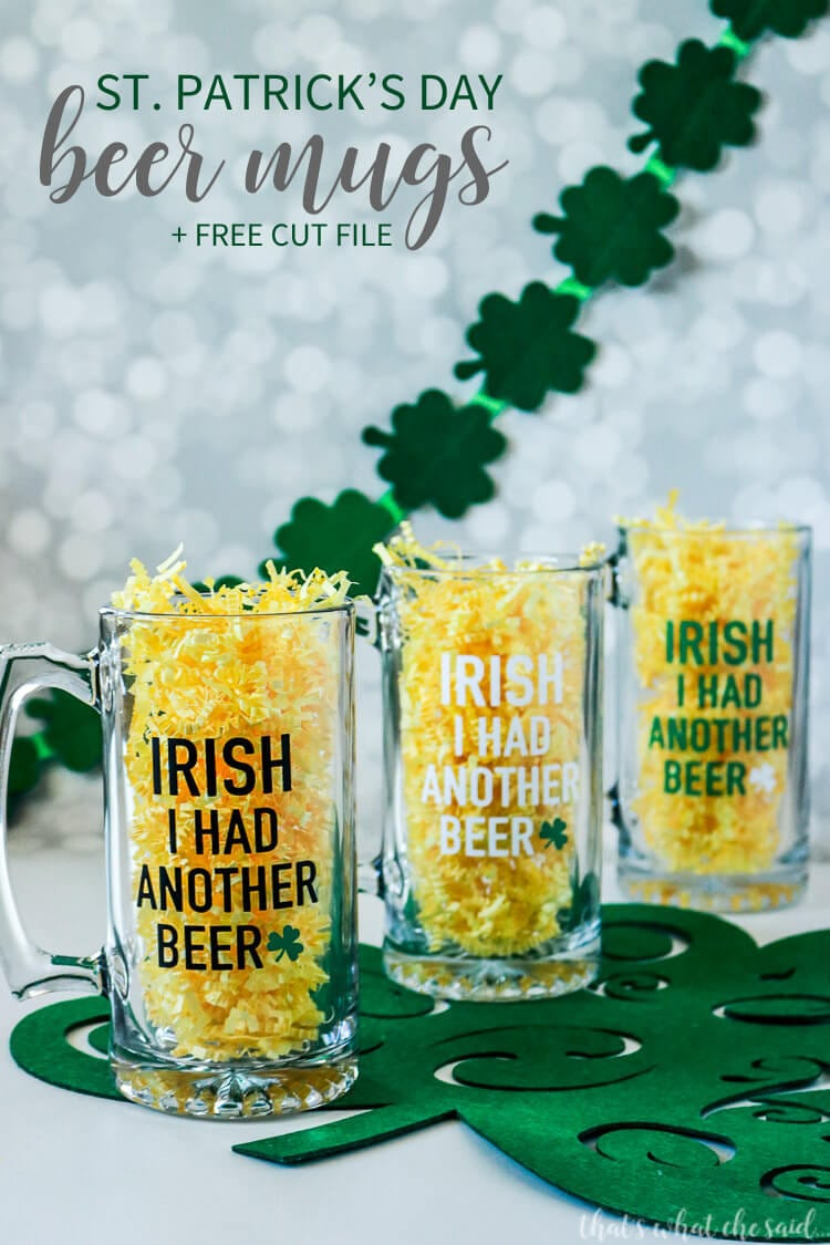 St. Patrick's Day Beer Mug with free cut file