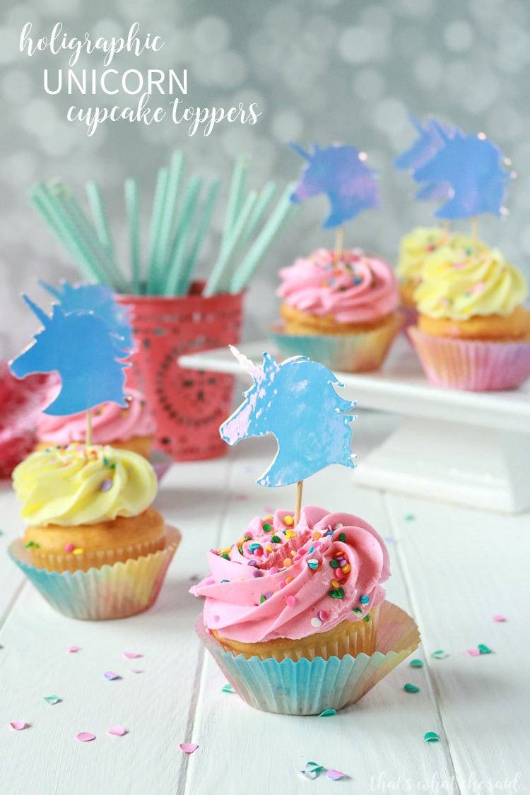 Unicorn Cupcake Toppers + Free Unicorn Cut File -