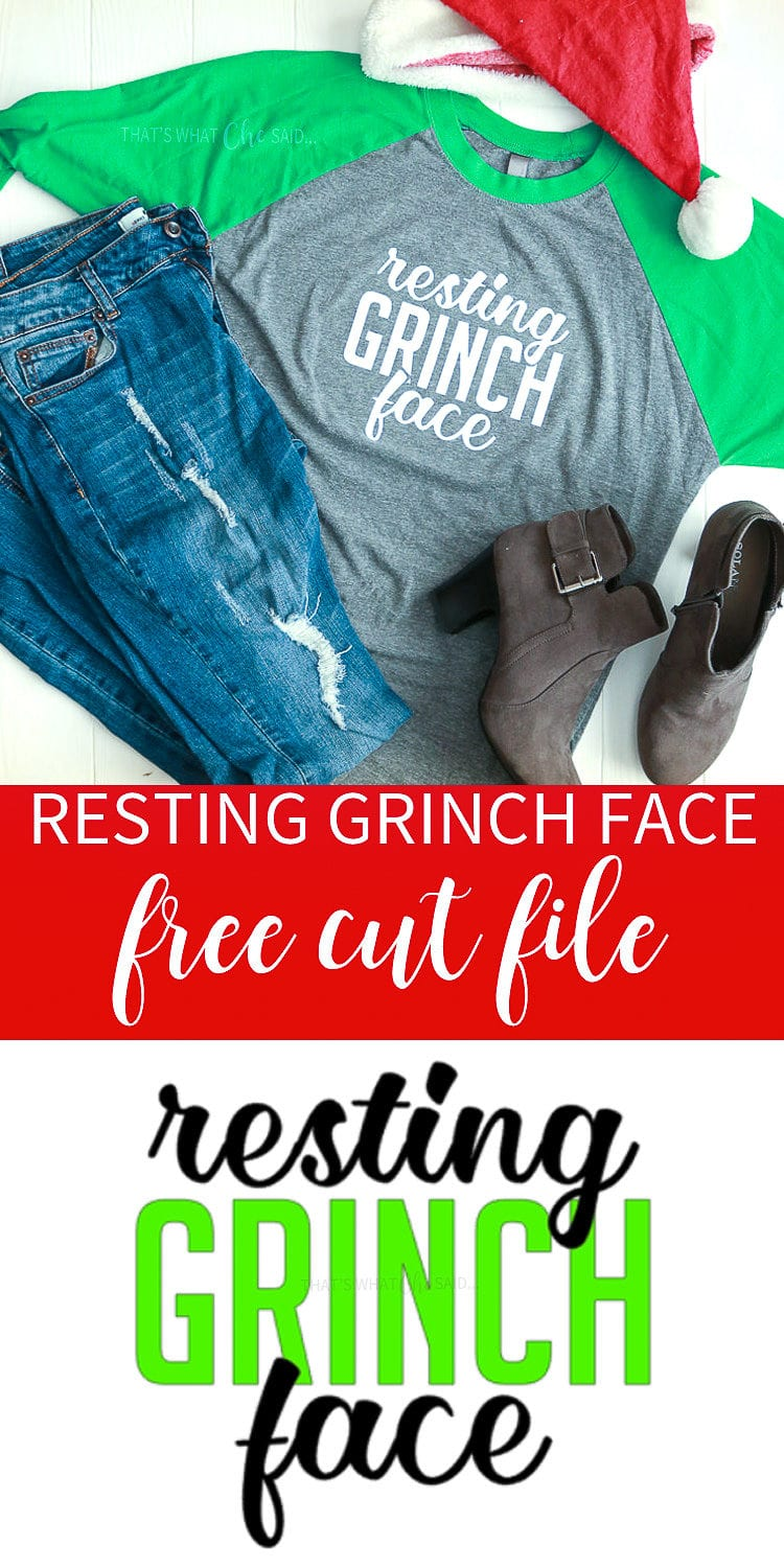 Resting Grinch Face - Holiday Free Cut File. Make this awesome shirt and pair it with your favorite pair of jeans and shoes for the perfect holiday shopping outfit! #grinch