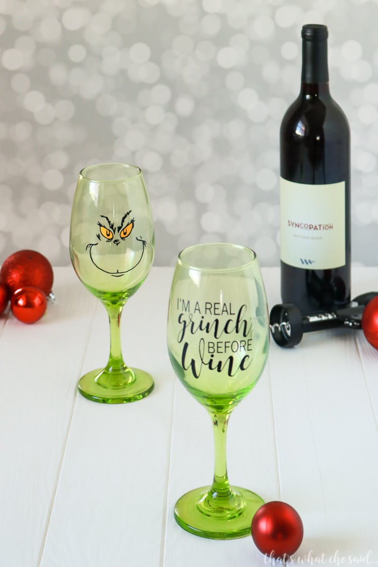 Holiday Wine Glass Decal Free SVG