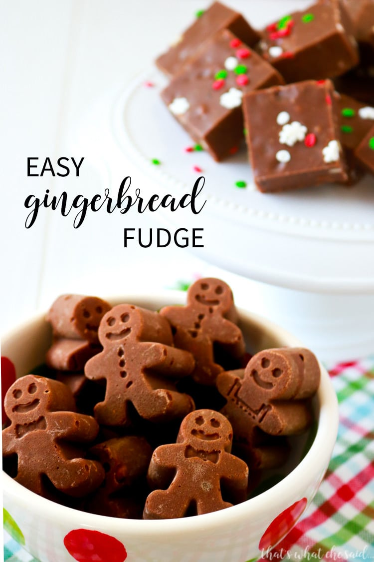 A Quick Fudge Recipe that uses gingerbread silicone molds to make cute shaped fudge!