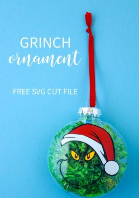Santa Grinch Ornament + Free SVG Cut File