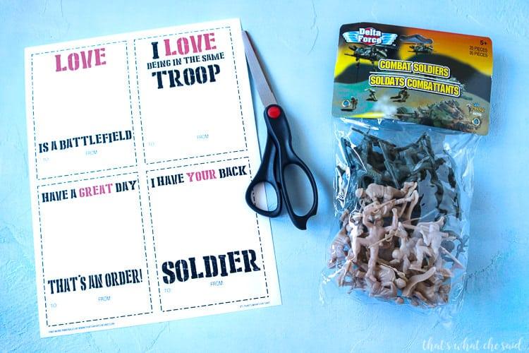 Army Man Valentine Card Supplies