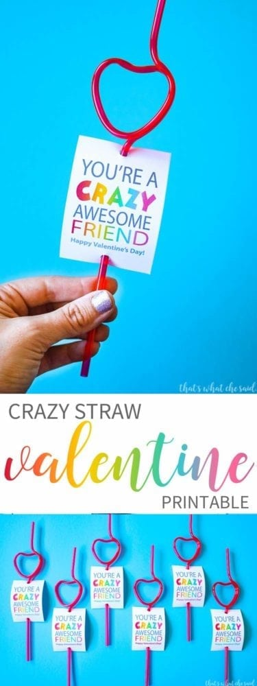 Crazy Straw Non-Candy Valentine Card Idea