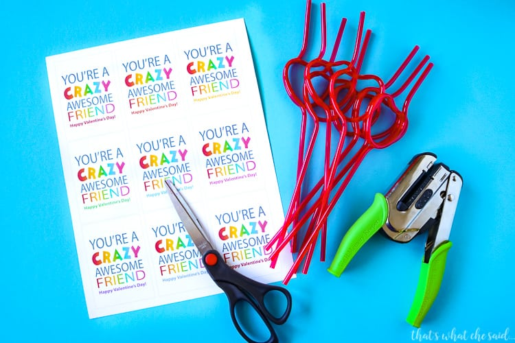 Crazy Straw Valentine Card Supplies