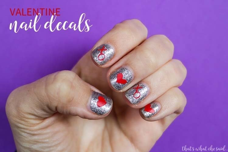DIY Valentine Nail Decals + Cut Files
