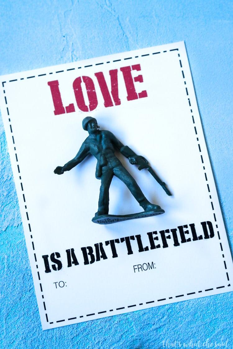 Easy Boy Valentine Cards - Army Man Valentine
