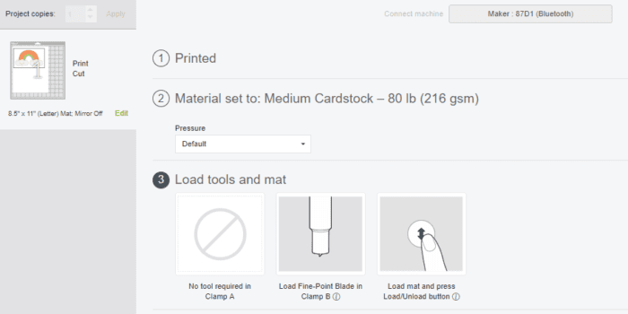 Load Tools and Mat Screen in Cricut Design Space