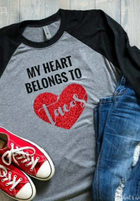 My Heart Belongs to Tacos SVG File Perfect Valentine's Day Shirt Idea
