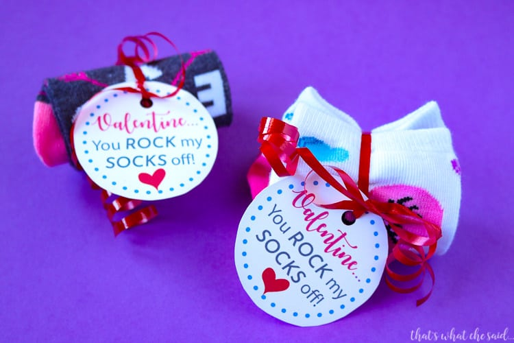 "Printable download tag for these adorable ""Rock Your Socks Off"" Valentines"