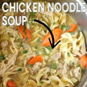 Top down view of instant pot filled with chicken noodle soup. Words over picture for a Pinterest pin