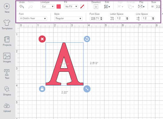 Text panel highlighted on Cricut Design Space Canvas screen to show which tools needed to change your fonts