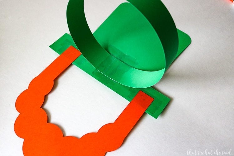 Assemble Paper Leprechaun Hat & Beard Mask