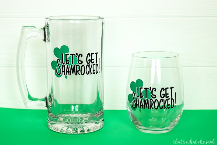 Let's Get Shamrocked SVG File for Mugs, Wine Glasses, Shirts and more