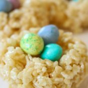 Nest Easter Rice Krispie Treats are perfect for a sweet treat or to adorn your table settings for your Easter Celebrations