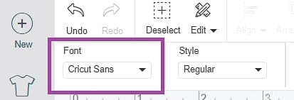 Select Font Drop down Menu from Font Edit Toolbar