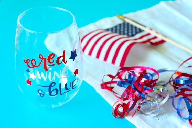 Plastic stemless wine glass with Red, Wine & Blue Patriotic Decal